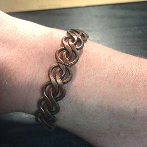 Old heavy copper bracelet braided look